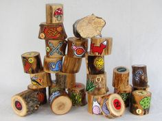 Woodland Alphabet Blocks  Set of 26  Hand painted with fun cartoon illustrations. These are beautiful. Pricey but I bet Grama Hess could paint some up real nice too!