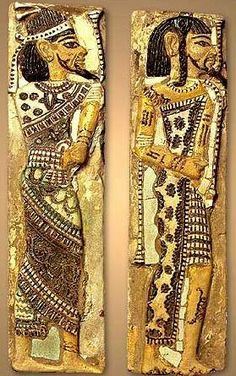 Two tiles with Syrian and Libyan Figures, from the palace tiles of Rameses II, at Pa-Ramessou, Lower Egypt.