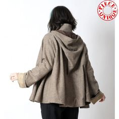 Brown chevron Goblin Hood Cape with long flared sleeves