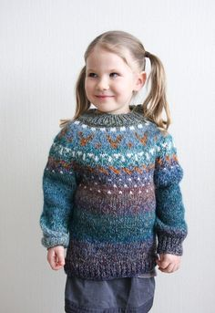 Hand knitted Icelandic style sweater for kids
