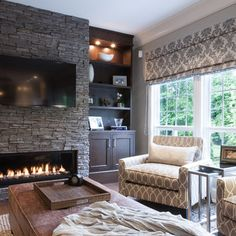 Ideas for contemporary fireplace with built ins and TV nook