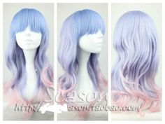 The Long Curly Wig Light Blue Light Pink Wig Cosplay Wig | eBay