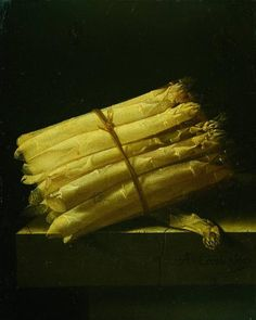 In the sharp light entering from the side, these asparagus seem almost transparent. The thick bunch is tied together with a cord, a single stem lying apart under the rest. Adriaen Coorte (active in Middelburg, Zeeland) painted asparagus several times. Still life with asparagus, 1697.