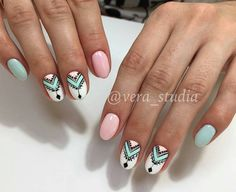 Discover new and inspirational nail art for your short nail designs. Nail Design Stiletto, Nail Design Glitter, Cute Nails, Pretty Nails, Hair And Nails, My Nails, Short Nail Designs, Aztec Nail Designs, Pastel Nails