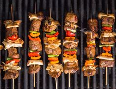 Great kebab recipes for grilling salmon spedini, sausage skewers, chicken sate, lamb kebabs, and steak skewers. Healthy Grilling Recipes, Grilled Steak Recipes, Super Healthy Recipes, Beef Recipes, Cooking Recipes, Grilling Ideas, Grill Recipes, Grilled Food, Recipes