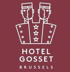 I adore this funky, cartoony logo design of Hotel Gosset - Brussels. It's funny, it's authentic, it's different. One you'll remember! | Hotel logo | Logo design | Hospitality design | Hotel logo design | Creative logo | Hotel brand identity | Hotel branding | Hotel graphic design | Logo graphic design