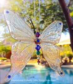 Large Gold Chakra Swarovski Crystal Butterfly Sun Catcher