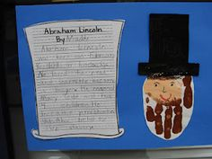 Traditions laughter and happily ever after blogspot. Cute abe lincoln handprint and writing