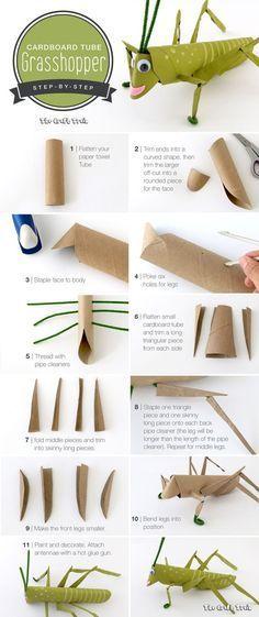 Cardboard tube grasshopper