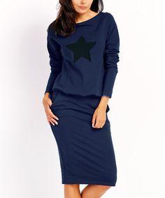 Loving this Navy Star Blouson Dress on #zulily! #zulilyfinds