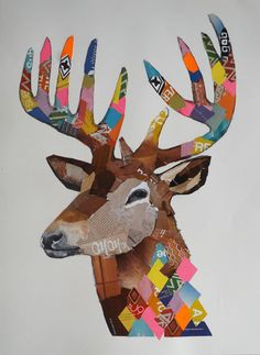 Australian modern artist Emma Gale mixes textures of crayons, pencils, feathers and fabric trim to create vibrant, rich, colourful and mesmerising collages. Art And Illustration, Illustrations, Deer Art, Moose Art, Modern Art, Contemporary Art, Oh Deer, Art Festival, Teaching Art