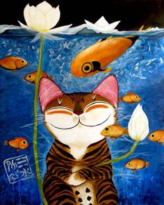 cat-art-catmasutra-water-5-elements by Paul Koh