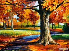 BRISTOL+FALL+—+PALETTE+KNIFE+Oil+Painting+On+Canvas+By+Leonid+Afremov