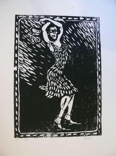 Original-Linolschnitt Frauen-Akte Freundinnen