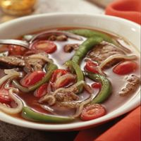 Find the most unique and interesting recipes for preparing pepper steak soup. Check out for the nutritional breakdown with plenty of kick to satisfy spice seekers.  http://www.nutritionw.com/health-library/?resource=%2fus%2fassets%2frecipe%2fpepper-steak-soup%2f~default