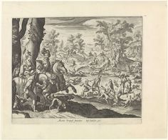 Antonio Tempesta   Landschap met klopjachten, Antonio Tempesta, Justus Sadeler, 1600 - 1620   Een boslandschap met verschillende klopjachten. Op de voorgrond een adellijk gezelschap te paard. De man heeft een jachtvalk op zijn arm. Rechts wordt een wolf door jagers en jachthonden aangevallen. Op de achtergrond de jacht op een everzwijn en herten.
