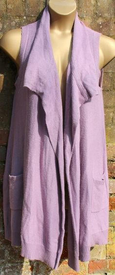 Ladies Size 12 Lilac Long Waterfall Cardigan Waistcoat Knitted Marks & Spencer