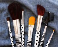DIY painted makeup brush handles