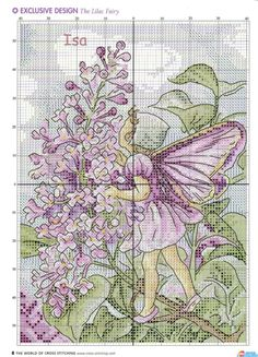 Cross stitch - fairies: Lilac fairy - Cicely Mary Barker (chart)