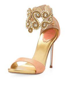 Beautiful Crystal Embellished Ankle Bracelet Sandal
