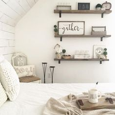 (Notice the wooden box with holder) Rustic Farmhouse Bedroom Decor Inspiration Ideas Post Roundup One Bedroom Apartment, Home Decor Bedroom, Bedroom Ideas, Cozy Bedroom, Bedroom Furniture, Bedroom Small, Apartment Ideas, Bedroom Retreat, Pretty Bedroom