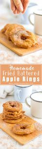 Homemade Fried Battered Apple Rings are simple yet mouth-watering treat! Apple slices dipped in batter, deep-fried & coated in cinnamon sugar! Family favorite dessert recipe, ready in 15 minutes! | happyfoodstube.com
