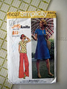 Simplicity 6027 sewing pattern, vintage pattern, dress/top and pants, vintage sewing at Designs By Willowcreek on Etsy by DesignsByWillowcreek on Etsy Simplicity Patterns, Pattern Dress, Easy Knitting, Vintage Sewing Patterns, Stitch, Sleeves, Pants, Handmade, Stuff To Buy