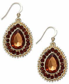 Style&co. Earrings, Gold-Tone Smoky Topaz-Colored Teardrop Earrings - Fashion Earrings - Jewelry & Watches - Macy's