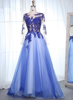 Scoop Neck Long Sleeves Appliques Lace Prom Dresses,PL5140 on Luulla