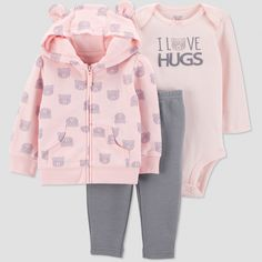 9d65d5ecd Baby Girls  2pc Velour Bear Set - Just One You made by carter s Pink ...