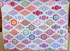 Patchwork Quilt Antique Marthas Grandmothers by VintageQuiltStore