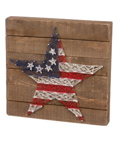 Primitives by Kathy Stars & Stripes String Art Wall Plaque Easy Yarn Crafts, Fun Crafts, Diy And Crafts, Arts And Crafts, Indoor Crafts, Homemade Crafts, Wood Crafts, String Art Tutorials, String Art Patterns
