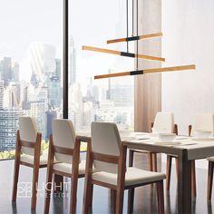 Żyrandol posiada zintegrowane źródło światła LED o mocy 48W / 2800LM / 3000K. Lampa świeci w dół i dzięki temu będzie idealnym rozwiązaniem do oświetlenia stołu w jadalni, wyspy kuchennej czy blatu roboczego w biurze. Led Lights, Decor, Table, House, Room, Conference Room Table, Home Decor, Room Divider, Furniture