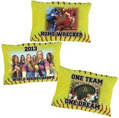 Personalized Fastpitch Softball Pillow Case. Customize a fastpitch softball pillowcase with your photo and text for a unique gift and memorable keepsake. Printing is on one side of pillowcase. Back side of pillowcase is white. The non printed side of the pillowcase allows for a great opportunity to use for player autographs.