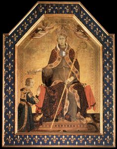 Simone Martini ~ Altar of St. Louis of Toulouse Enthroned crowning his brother Robert of Anjou ~ 1317 ~ Museo Nazionale di Capodimonte, Naples ~ The altarpiece represents St Louis of Toulouse seated with his brother, Robert the Wise, kneeling before him. Louis of Anjou was born in 1274, the second son of Charles II of Anjou, king of Naples, and was the designated heir to the throne. However, he felt called to spiritual life, and renounced his claim to the throne in 1296. Robert became king…