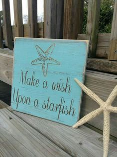 Make a wish upon a starfish wooden sign