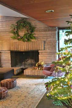 A mid-century decorated holiday