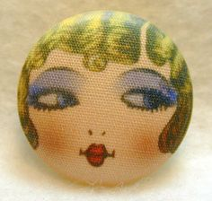 Items similar to Flapper Button GOLDIE - Hand Printed Fabric 1 and 1 eighth inch on Etsy Cool Buttons, Diy Buttons, Vintage Buttons, Button Art, Button Crafts, Hand Printed Fabric, Printing On Fabric, 1920s Flapper Girl, Flappers 1920s