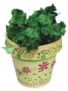 Floraled Flower Pot - Cheap and Easy Crafts .  garden crafts