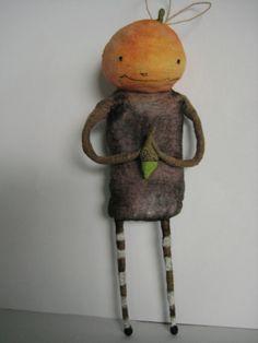Spun Cotton Halloween Jack O Lantern Boy with acorn ornament by maria pahls