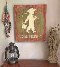 Gone Fishing Country Boy Sign, boy nursery, fishing nursery, country nursery – Boy Room 2020 Boys Fishing Room, Fishing Nursery, Boy Fishing, Fishing Themed Bedroom, Fishing Tips, Fishing Lures, Fishing Knots, Fishing Tackle, Fish Themed Nursery