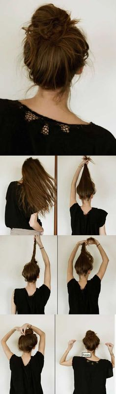 Another lazy day hair-do. So simple and when you get done put in a headband and you