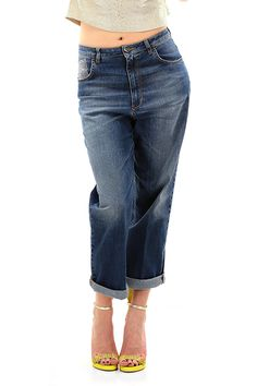 Twin Set Jeans - Jeans - Abbigliamento - Jeans modello boyfriend a quattro tasche con applicazione di strass in vita, vita alta. - UNICO - € 159.00