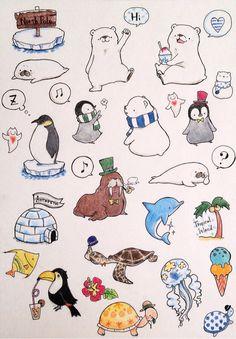 北極南極&南国 フレークシール Bullet Journal Font, Journal Fonts, Bullet Journal Ideas Pages, Travel Drawing, Simple Illustration, Cute Doodles, Love Painting, Art Classroom, Kawaii