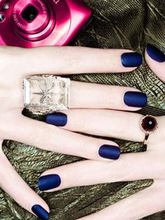 New Nail Polish Trends - Minxing and Matte Nail Polish - Marie Claire.OPI Matte Nail Lacquer in Russian Navy, Navy Blue Nail Polish, Navy Blue Nails, Matte Nail Polish, Nail Polish Trends, Nail Trends, Gel Nails, Acrylic Nails, Nail Polishes, Maroon Nails