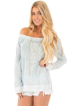 4c2a1e6ff0 Washed Mint Off Shoulder Sweater with Split Side Detail Off Shoulder Sweater