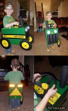 John Deere Tractor Halloween Costume! This is the cutest costume I've ever seen! #JohnDeere #Tractor #Halloween #Costume #DiyKidsCostume #NothingRunsLikeADeere