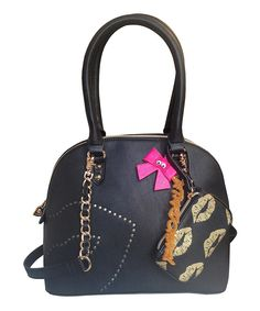 Look what I found on #zulily! Black Kisses Dome Satchel Bag by Betsey Johnson #zulilyfinds