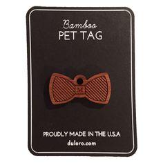 Pet Tag - Wood Monogram Dog tag - Striped Bowtie  #wooddogtag #dogtag #keychain