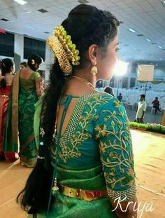 55 Latest Maggam Work Blouse Designs that will inspire you - Wedandbeyond Wedding Saree Blouse Designs, Pattu Saree Blouse Designs, Designer Blouse Patterns, Fancy Blouse Designs, Blouse Neck Designs, Sari Blouse, Saree Dress, Blouse Styles, Hair Designs